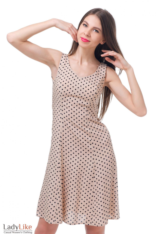 Купить бежевое платье в черный горошек Деловая женская одежда