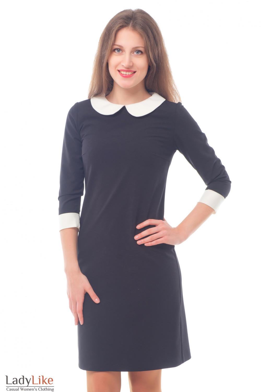 Платье черное с белым воротничком Деловая женская одежда