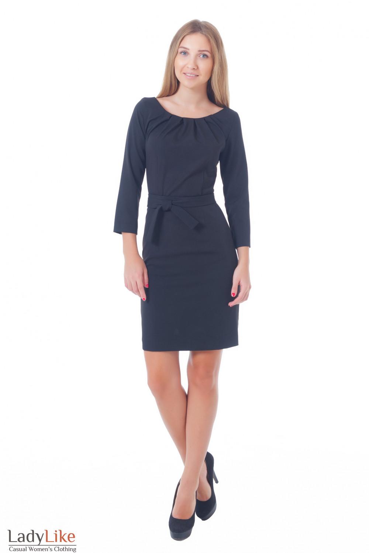 Купить платье с поясом и защипами Деловая женская одежда