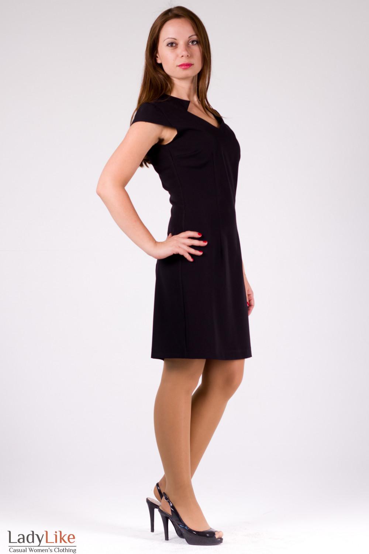 Фото Платье черное со стойкой Деловая женская одежда