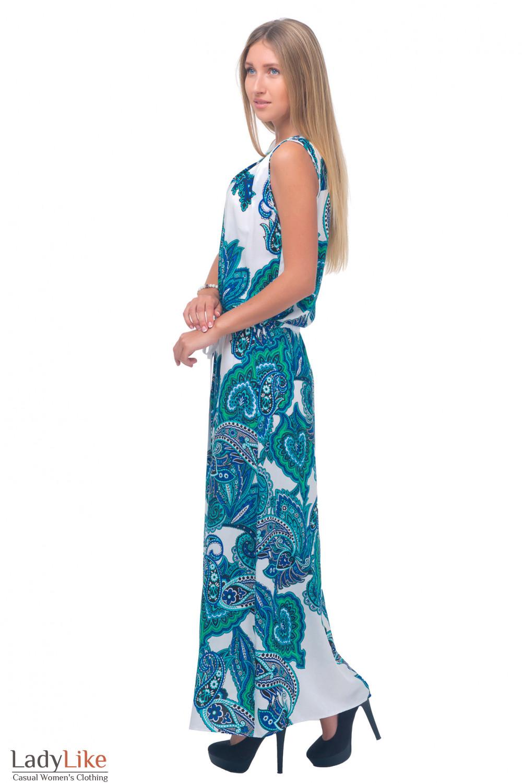 Купить платье в пол в бирюзовый узор Деловая женская одежда