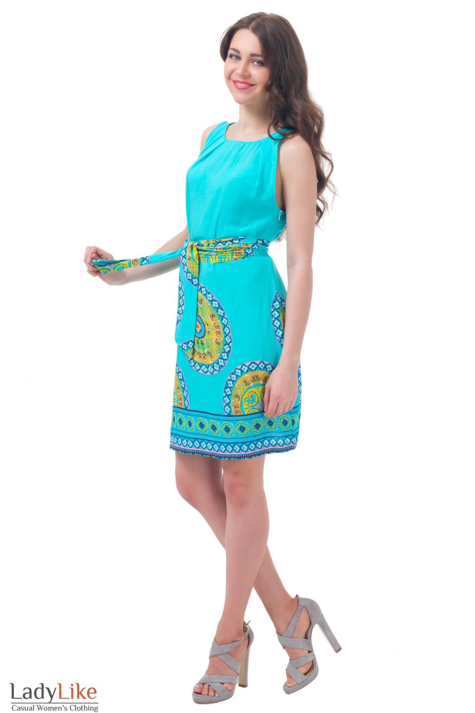 Купить летнее голубое платье с поясом Деловая женская одежда
