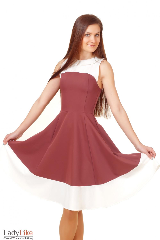 Купить коричневое платье с пышной юбкой Деловая женская одежда