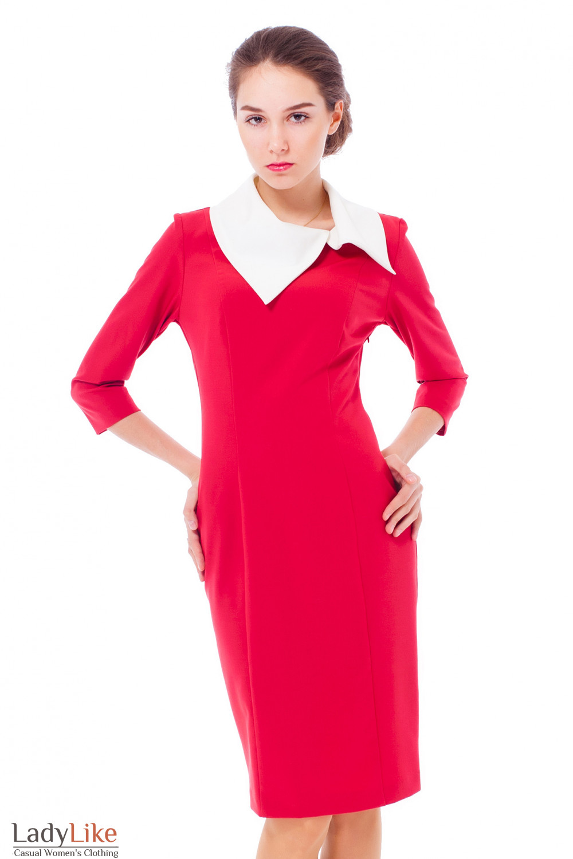 Купить платье красное с белым воротником Деловая женская одежда