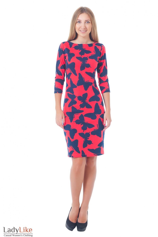 Купить красное трикотажное платье в бабочки Деловая женская одежда