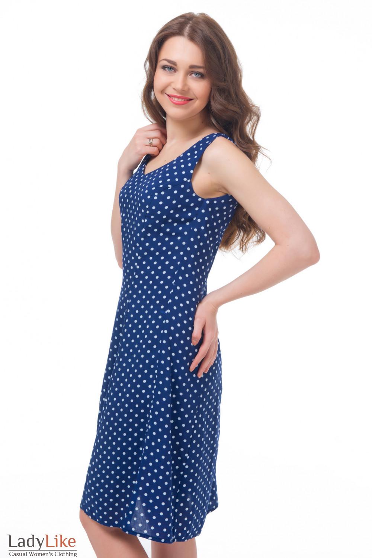 Купить платье синее в горошек Деловая женская одежда