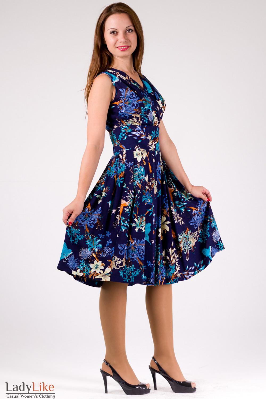 Фото Платье летнее синее в птички Деловая женская одежда