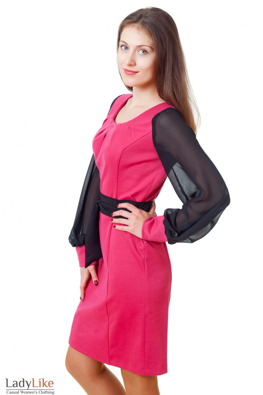 Купить малиновое платье с черными рукавами Деловая женская одежда