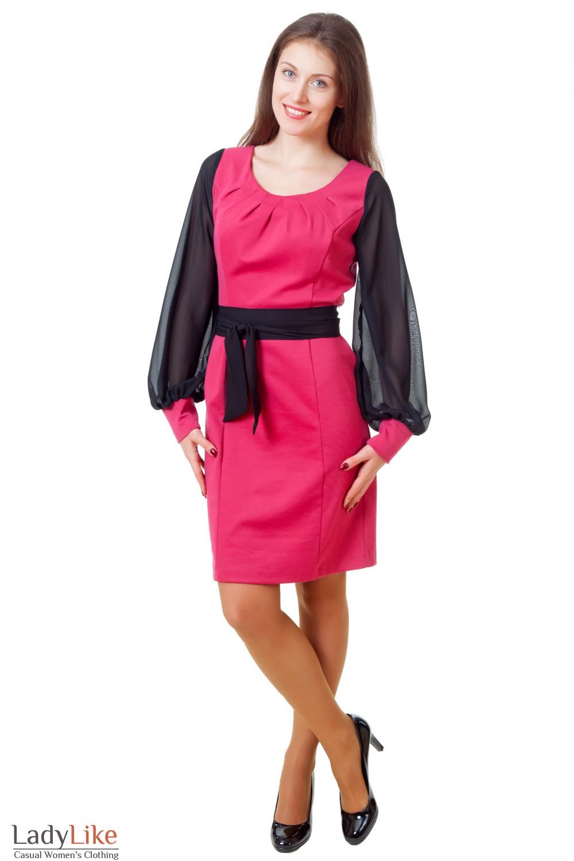 Купить трикотажное платье с защипами Деловая женская одежда