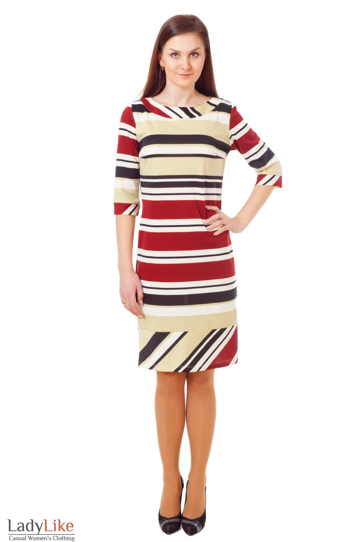Купить трикотажное полосатое платье  Деловая женская одежда