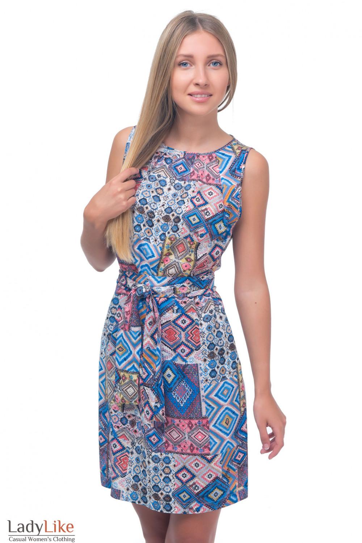 Платье разноцветное с защипами Деловая женская одежда