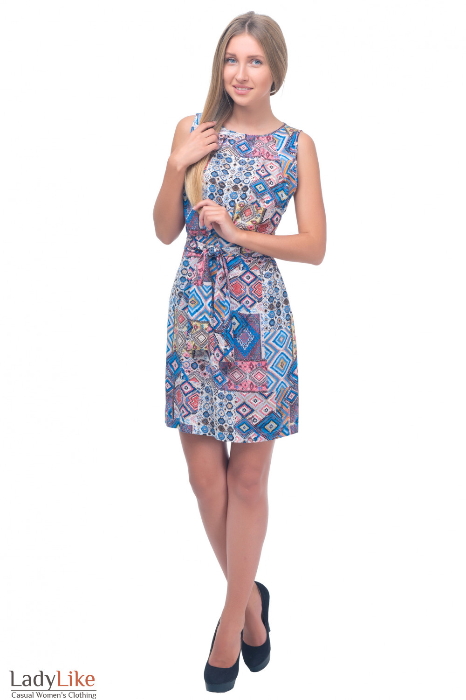 Летнее платье с поясом Деловая женская одежда