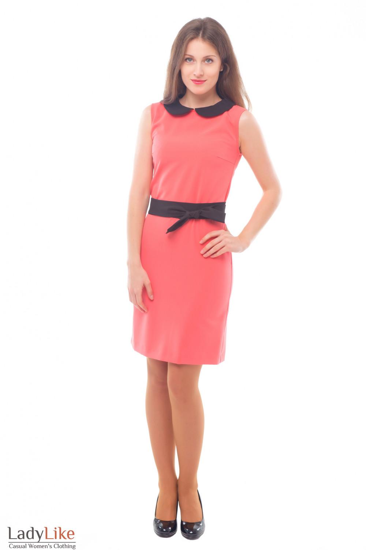 Купить розовое платье с черным поясом Деловая женская одежда