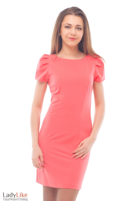 Платье розовое с рукавом-фонариком Деловая женская одежда
