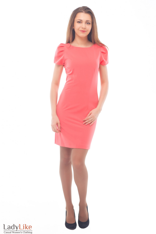 Купить розовое платье с рукавом Деловая женская одежда