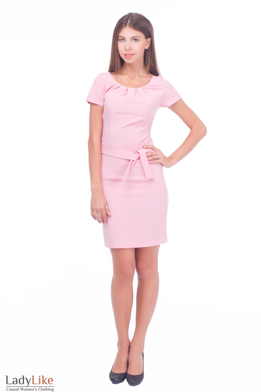 Купить платье розовое с поясом Деловая женская одежда