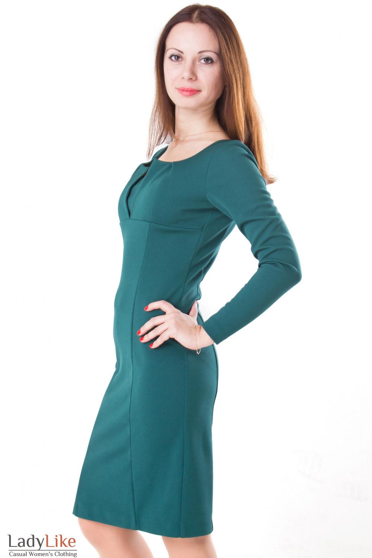 Фото Платье с фигурным вырезом зеленое Деловая женская одежда