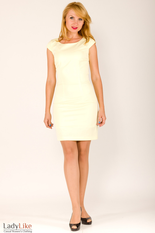 Фото Платье с коротким рукавом желтое Деловая женская одежда
