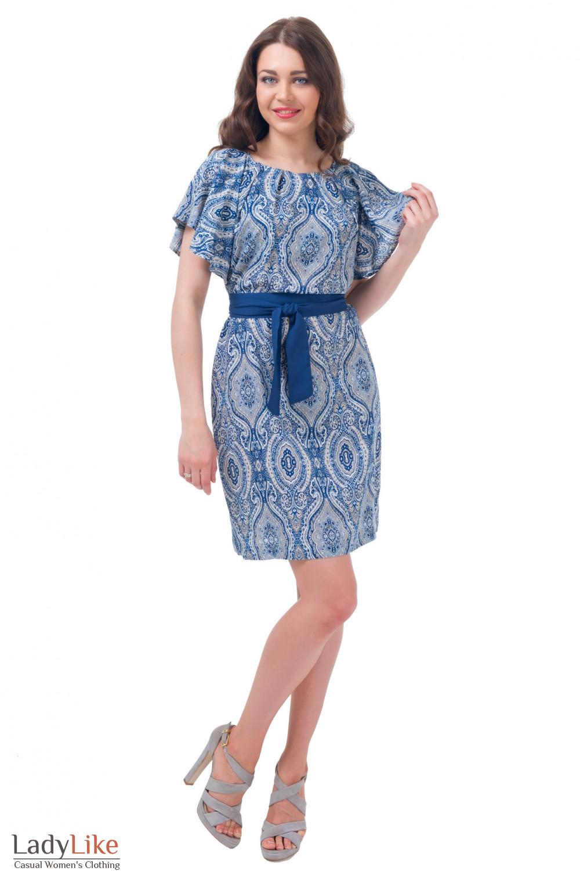 Купить летнее синее платье с поясом Деловая женская одежда