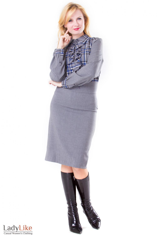 Фото Платье серое в клетку Деловая женская одежда
