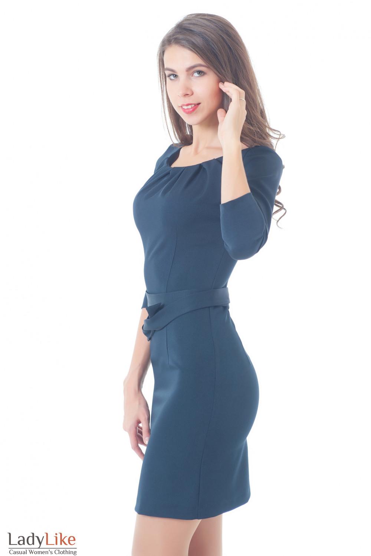 Купить синее платье с защипами Деловая женская одежда