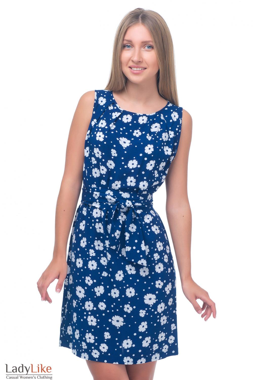 Платье синее в белые ромашки Деловая женская одежда
