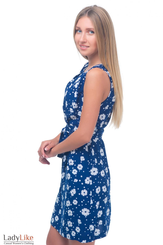 Купить платье синее в белые ромашки Деловая женская одежда