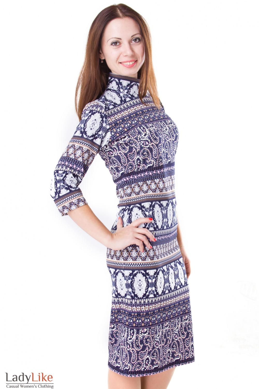 Фото Платье синее в мелкие цветочки Деловая женская одежда