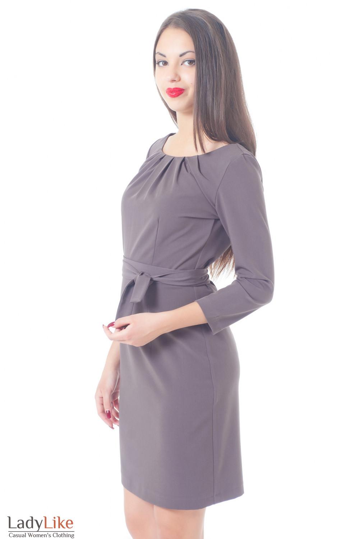 Платье сиреневое с защипами и длинным рукавом Деловая женская одежда