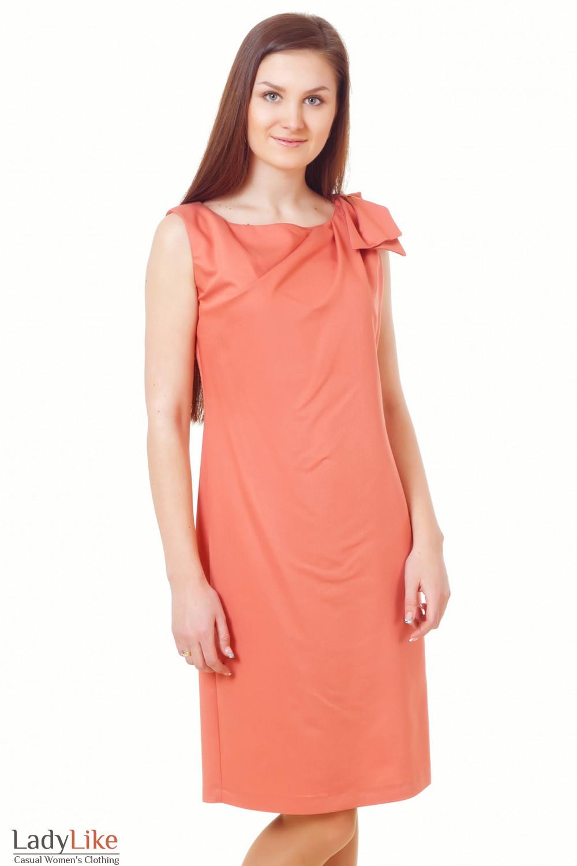 Платье терракотовое с бантиком на плече Деловая женская одежда