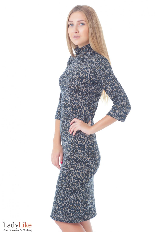 Купить платье в бежевый орнамент Деловая женская одежда
