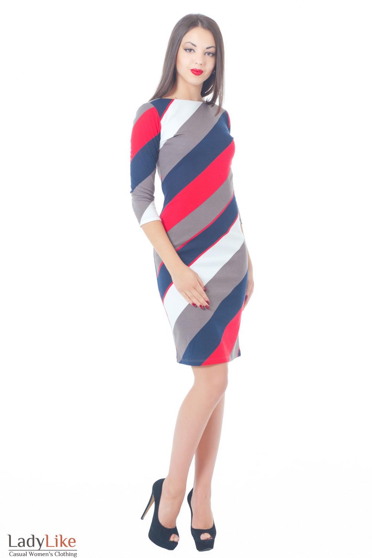 Купить трикотажное платье-футляр в полоску Деловая женская одежда