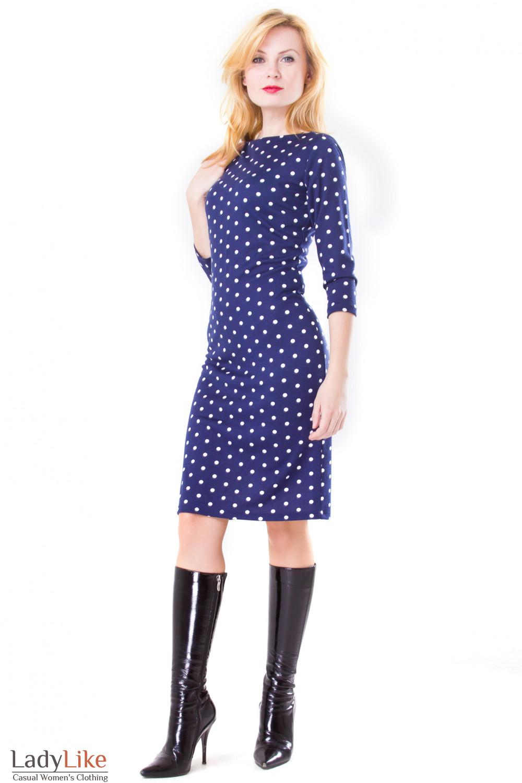 Фото Платье синее в белый горох Деловая женская одежда