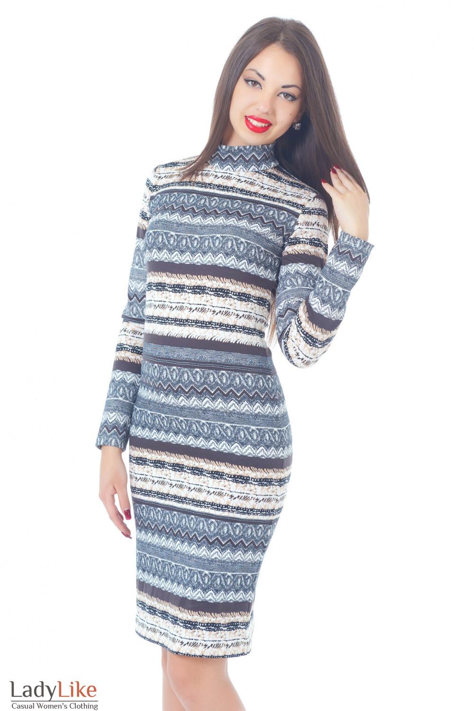 Купить трикотажное платье со стойкой Деловая женская одежда