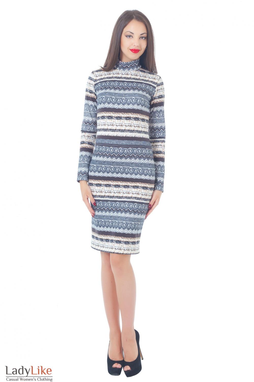 Купить трикотажное платье в светлую полоску Деловая женская одежда
