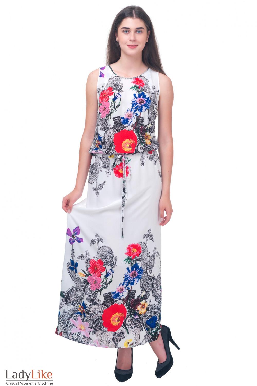 Платье в пол в красные цветы Деловая женская одежда