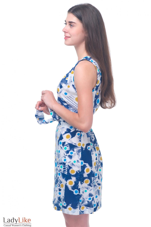 Купить платье с синим узором Деловая женская одежда