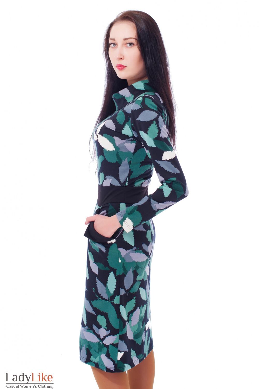 Купить платье в зеленый узор с карманами Деловая женская одежда