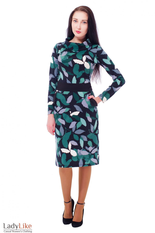 Купить зеленое платье с карманами Деловая женская одежда