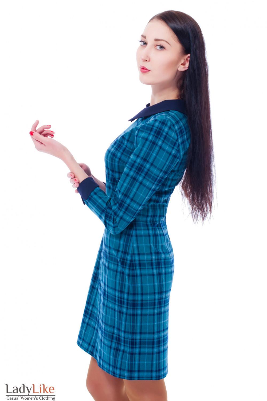 Платье зеленое в синюю клетку Деловая женская одежда