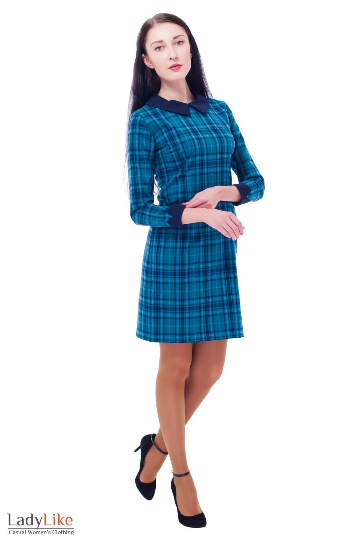 Купить платье в клетку с манжетами  Деловая женская одежда