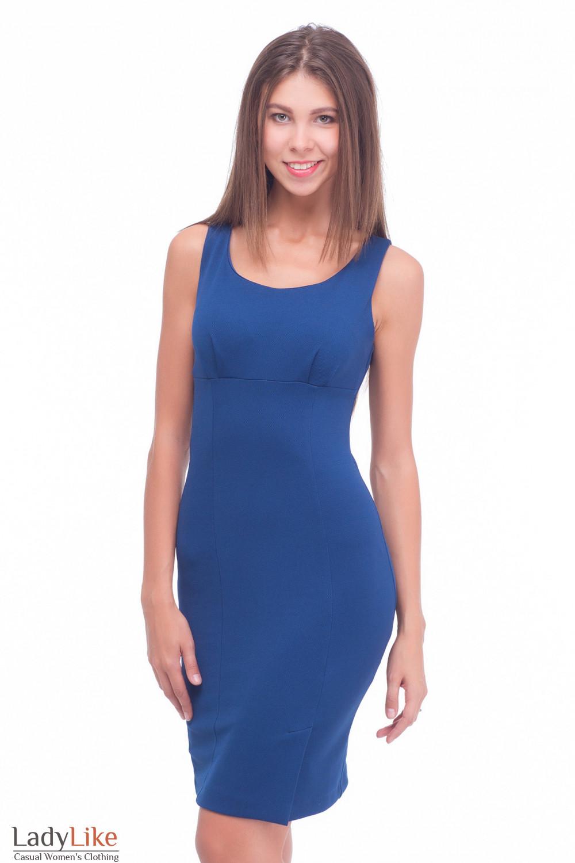 Сарафан из синего трикотажа с отрезной талией Деловая женская одежда