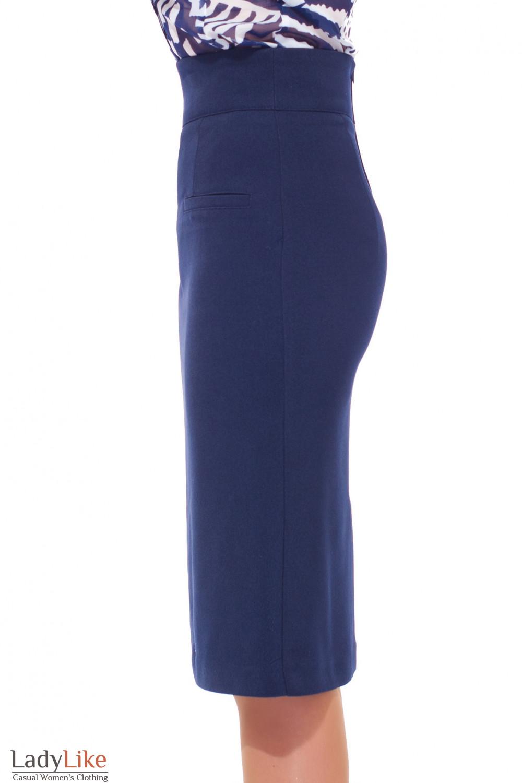 Синяя удлиненная теплая юбка  Деловая женская одежда