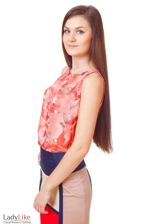Купить летний топ в цветочки Деловая женская одежда