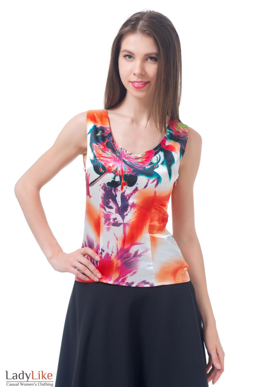 Топ разноцветный атласный Деловая женская одежда