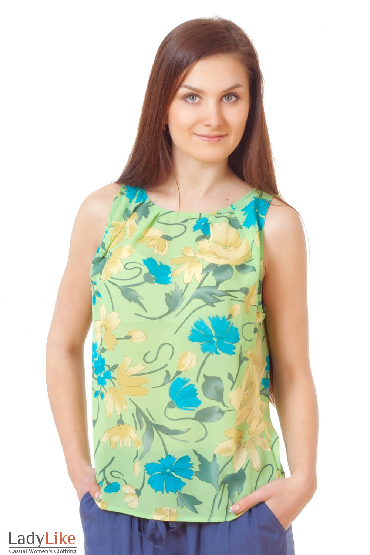 Топ салатовый в цветочки Деловая женская одежда