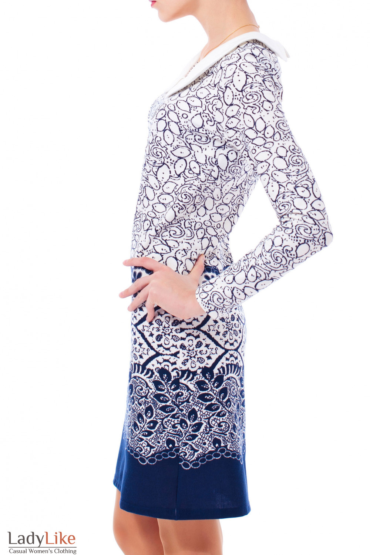Трикотажное платье с воротником Деловая женская одежда