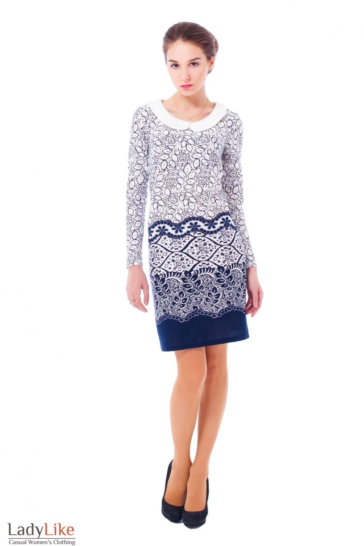 Трикотажное платье с белым воротником Деловая женская одежда