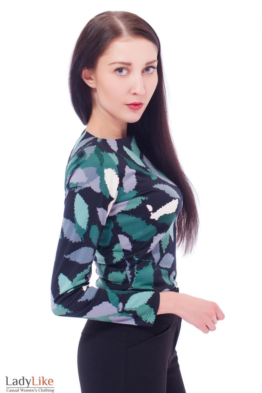Туника черная в зеленый узор Деловая женская одежда