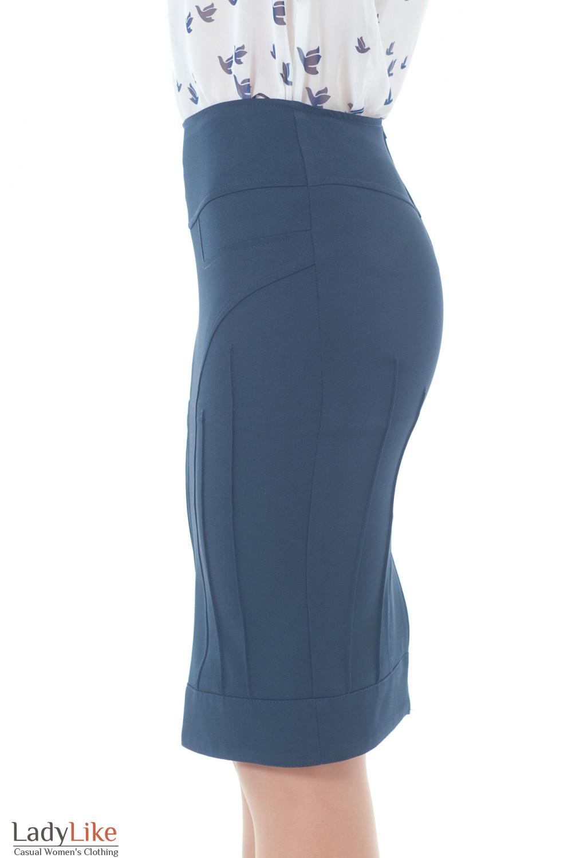 Юбка-карандаш синяя с рельефами Деловая женская одежда